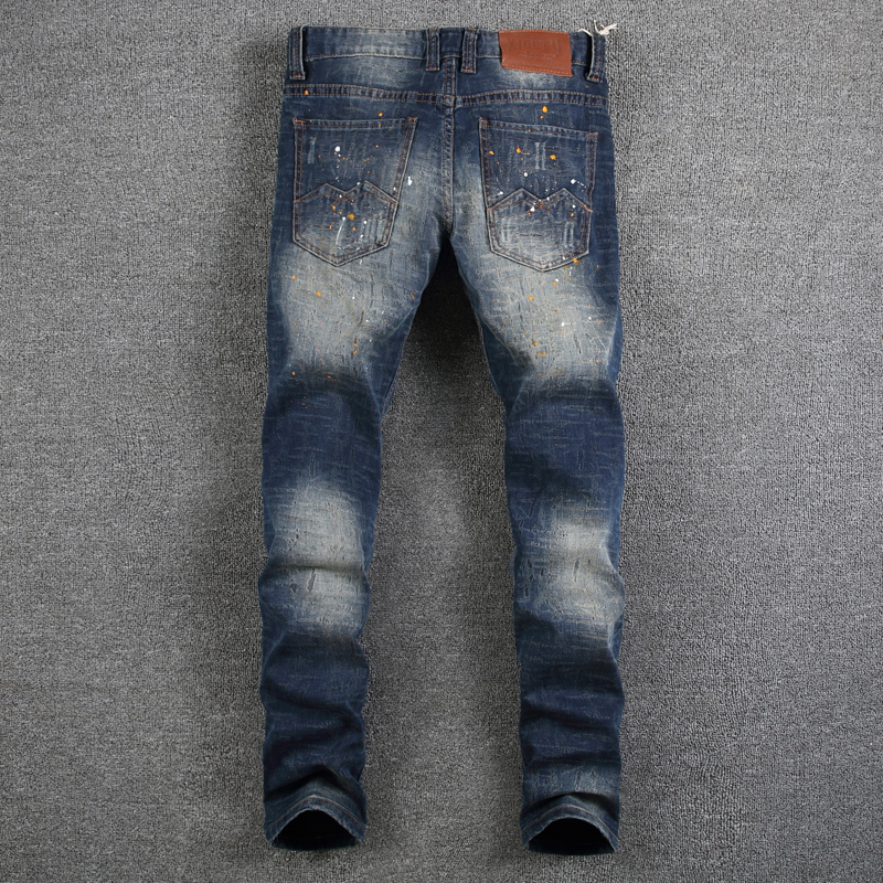 0b3709ba336 Dark Blue Color Fashion Men Jeans Paint Dirty Job Destroyed Ripped Jeans  Homme Brand Jeans Men Slim Fit High Street Denim Pants-in Jeans from Men s  Clothing ...