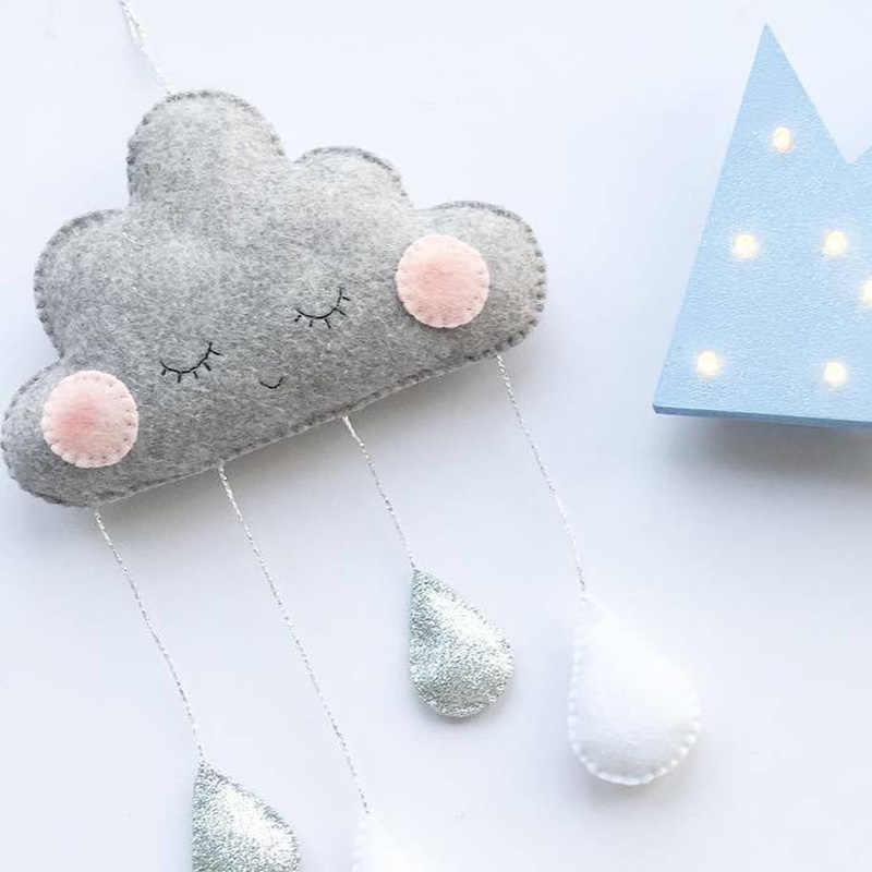 Berçário decoração do quarto do bebê pano de feltro nuvens decoração da parede raindrop cama pendurado teepees tenda decoração brinquedos fotografia adereços