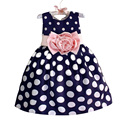 2017 New Stylish Kids Toddler Girls Princess Dress Sleeveless Polka Dots Bowknot Dress! 2 Color Quality Navy Blue White YY0300