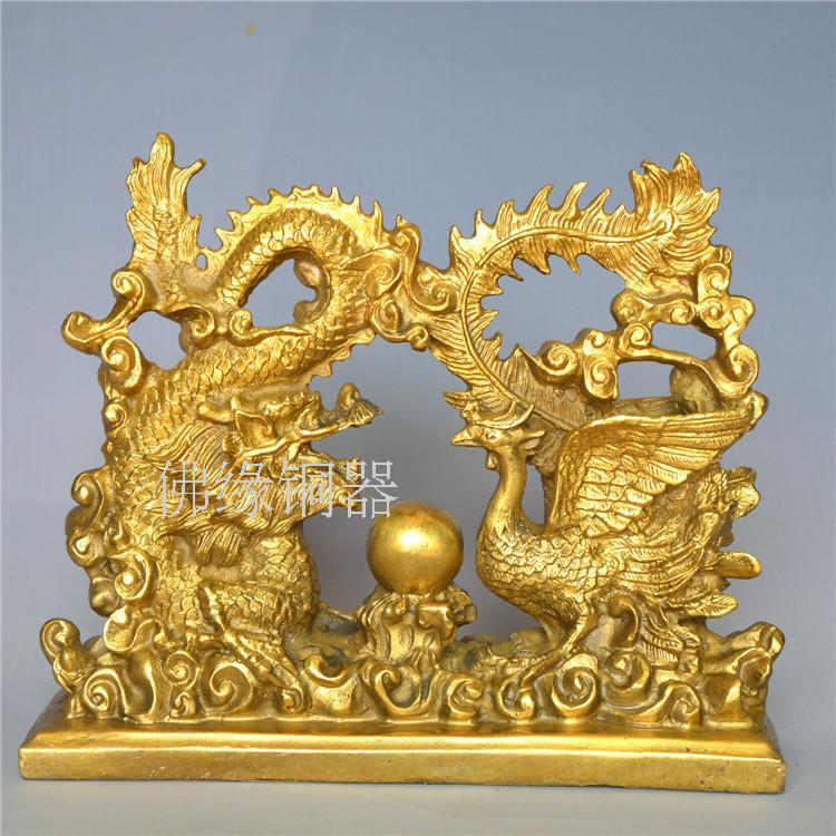 Měděné ozdoby řemesel a Longfeng značky maskota bestie přátelé si vzali Qing dekorace