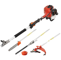 Professional Petrol Long Reach 52cc Hedge Trimmer Strimmer Brush Cutter Pole Saw 4 in 1