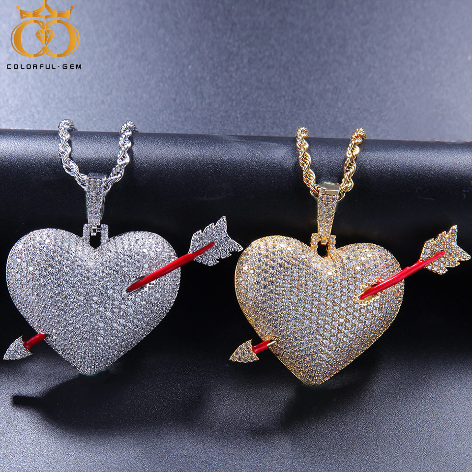 Zircon Cuban/Rope Chains with Arrow Broken Heart Gold Silver Color Copper Material Iced Out CZ Chain Hip hop Jewelry NecklaceZircon Cuban/Rope Chains with Arrow Broken Heart Gold Silver Color Copper Material Iced Out CZ Chain Hip hop Jewelry Necklace