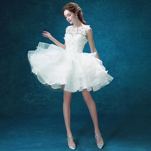 Image 2 - Wit Zweet Knielengte Multilayer Lace Lady Girl Vrouwen Prinses Bruidsmeisje Banket Feestjurk Jurk