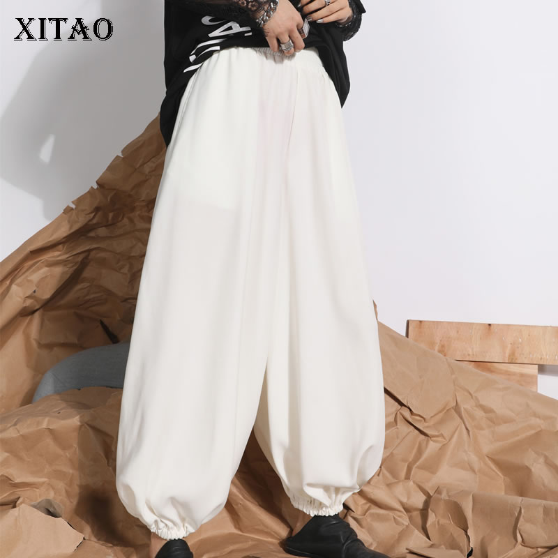 [XITAO] Korea Fashion Female Spring Summer 2019 New   Wide     Leg     Pants   Casual Loose Women Solid Color Full Length   Pants   DLL2855