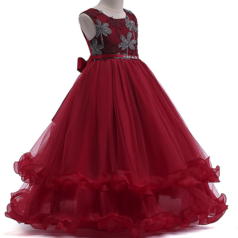 0ce353ff42 Comprar Niñas Flor del cordón de la boda Vestido elegante sin mangas de  encaje Tulle Dres princesa partido ropa vestido Online Baratos.