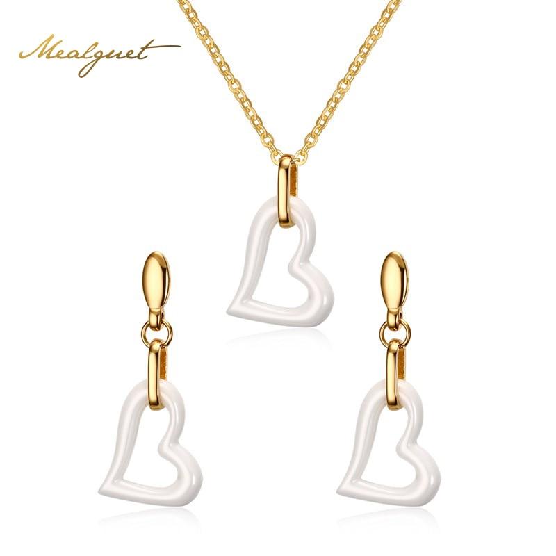 Meaeguet moda mujer set de joyas de cerámica blanca de acero inoxidable colgante