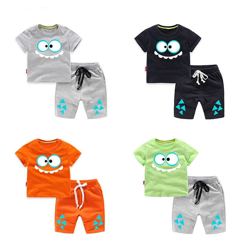 Summer Cotton Baby Boys Clothes Sets Children Clothing Sets Kids 2-Piece Sets Shorts+T-Shirts For 1-8 Years Old 2016 spiderman children clothing kids summer little baby cotton clothing sets t shirts and shorts casual fashional dress 0440
