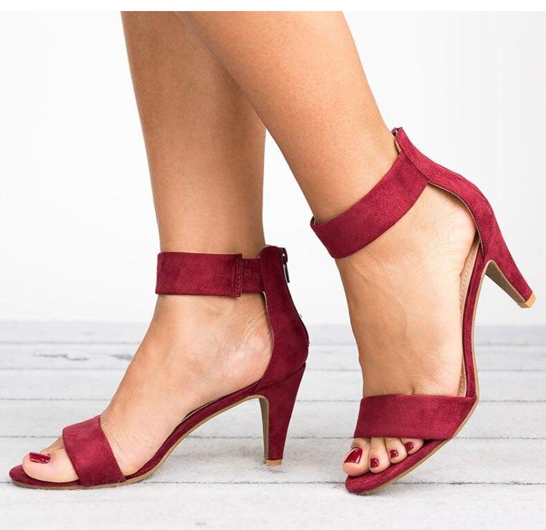 HTB1RJfabiLrK1Rjy1zdq6ynnpXas Women Sandals 2019 Fashion Summer Shoes Women Peep Toe Thin Heels Sandals Plus Size 43 Casual Zapatos Mujer 5cm Women Heels