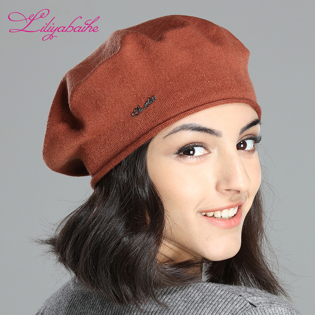 LILIYABAIHE trendy solid color new spring style lady hat stretchable women cotton  knitted beret cap with 512bdc7160c
