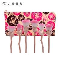6 parça GUJHUI Güller tarzı kolu makyaj fırça güzellik fırça makyaj pudra fırçası yüz ve kontrol