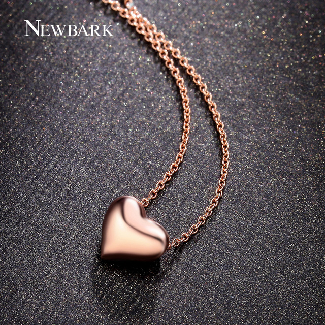 Newbark simple love heart pendant necklaces rose gold color and newbark simple love heart pendant necklaces rose gold color and silver color polished charm necklaces for mozeypictures Gallery