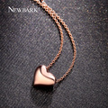 NEWBARK Simple Love Heart Pendant Necklaces Rose Gold Plated And Silver Color Polished Charm Necklaces For Women Jewelry Gifts