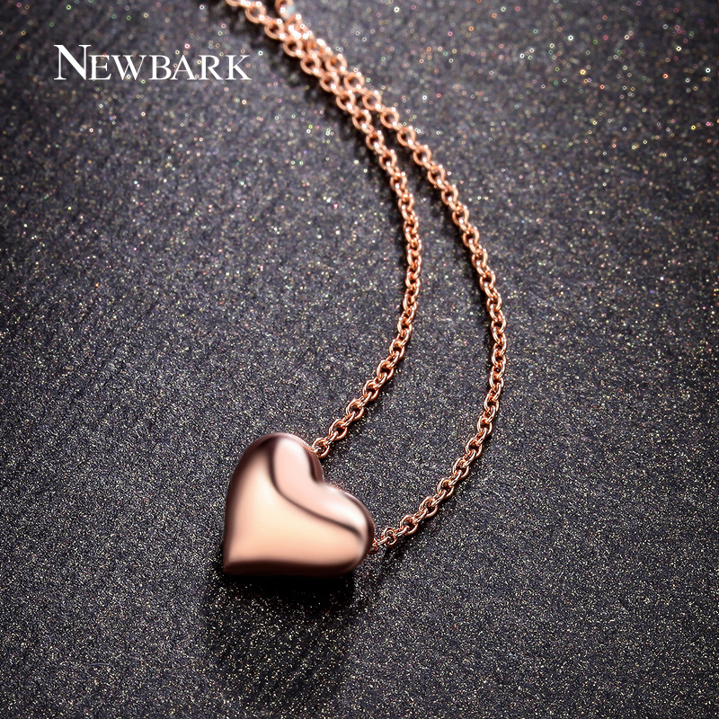 NEWBARK Simple Love Heart Pendant Necklaces Rose Gold Color and Silver Color Polished Charm Necklaces For Women Jewelry Gifts