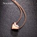 Newbark simple amor del corazón colgante collares de oro rosa plateado y color plata pulida encanto collares para las mujeres regalos de joyas