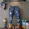 Tddler Boy Jeans 2016 Children Autumn Clothes Fashion Print Kids Ripped  Baby Jeans 2-7Years Boys Denim Pants Cotton Trousers