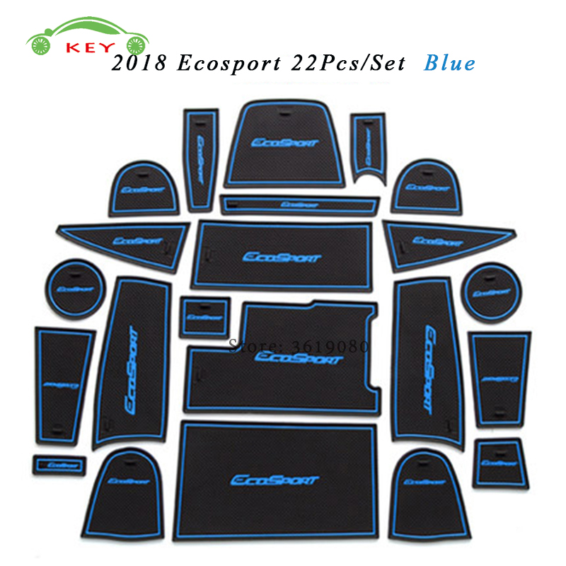 Car Gate Slot Mat For Ford Ecosport 2018 Anti-slip Door Pad Rubber Cup Groove Mat Decoration Auto Interior Accessories 16pcs anti non slip with words in car stickers interior door cup gate slot mat pad groove mat for mazda cx 7 cx7 car styling