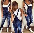2016 Mulheres Macacão Macacão Jeans Rasgado Casual Solta Calças Jeans Skinny Buraco calças de Brim Salopette Mulheres Macacão tamanho S-XL