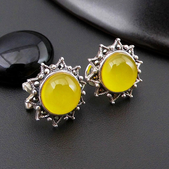 925 Silver Round Sunflower Earring Natural Green Yellow Stone S925 Sterling Boucle Doreille Stud Earrings For Women