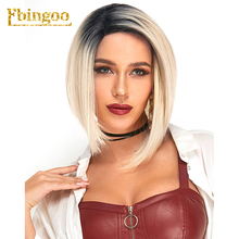 Ebingoo Ombre 613 Platinume Blonde Purple Brown Synthetic Lace Front Wig with Baby Hair Short Straight Bob Futura for Women