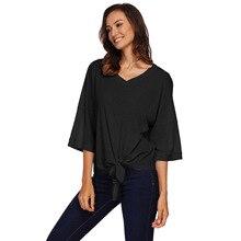 цена women fashion T-shirt black/blue/white 3XL Winter new seven-point sleeves with bows irregular short tops casual t shirts онлайн в 2017 году