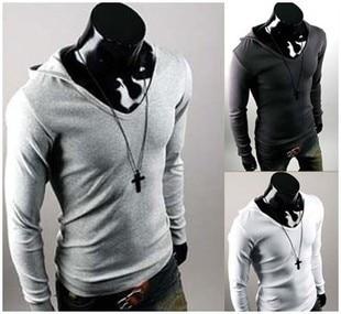 Fashion hood pile collar design trends Korean men Slim long ...