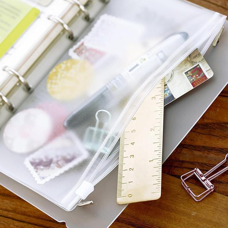 VODOOL PVC A5 A6 A7 Zipper Bag Card Bills Clips Transparent Loose Leaf Storage Holder Pocket Filing Stationery Supplies Dropship