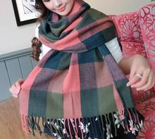 Fashionable Women Plaid Winter Scarf Warm Female Shawl Tippet Long Artificial Wool Wrap Muffler female