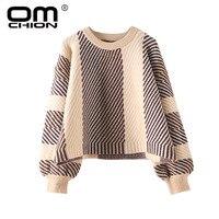 OMCHION O Neck Preppy Style Sweater Women 2018 Autumn Korean Irregular Striped Pullover Thick BF Oversized Retro Jumper LMM134