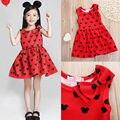 Девочка летнее платье дети res Минни Маус рукавов одежды дети случайные хлопка повседневная одежда принцесса девушки платья
