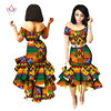 2019 New African Wax Print Dresses for Women Bazin Riche Cotton Party Dress Dashiki Sexy African Fashion Clothing WY2205