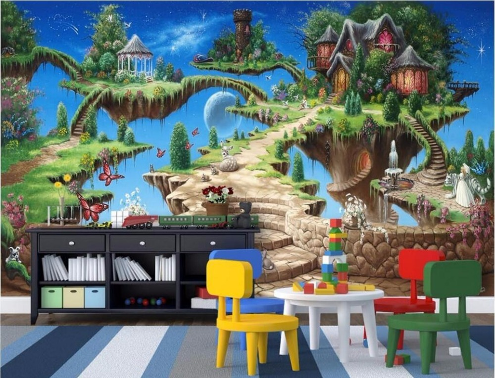 WDBH custom mural 3d wallpaper fairy tale castle park child room home decoration painting 3d wall murals wallpaper for wall 3 d custom photo 3d ceiling murals wallpaper european mythological figure angelic painting 3d wall murals wallpaper for walls 3 d
