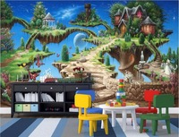 WDBH Custom Mural 3d Wallpaper Fairy Tale Castle Park Child Room Home Decoration Painting 3d Wall