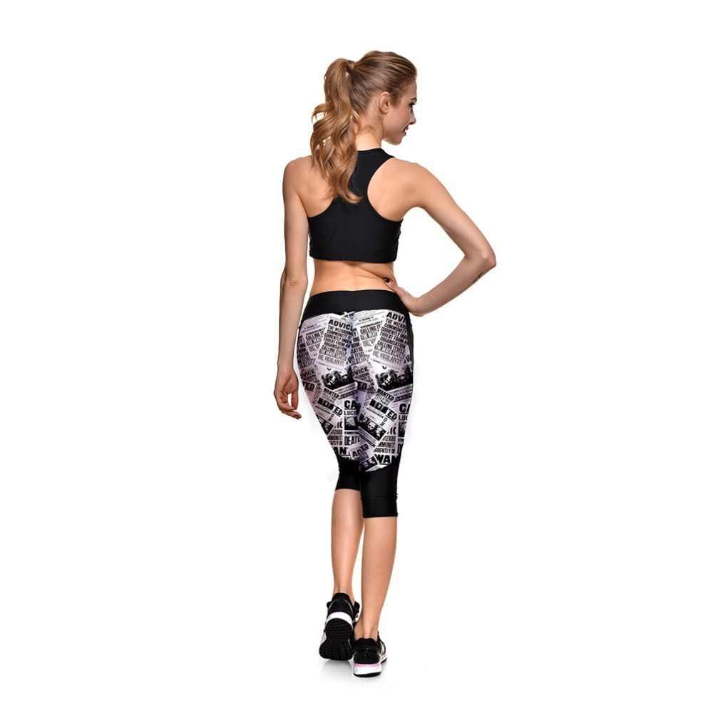Черно-белый газетный рисунок Печать Повседневный стиль капри для женщин спортивные Высокая талия дышащий полиэстер обтягивающие леггинсы