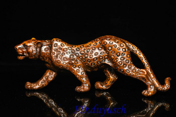 """Christmas 8"""" Chinese Boxwood wood Carved leopard panther Panthera pardus Feng Shui Statue Halloween"""