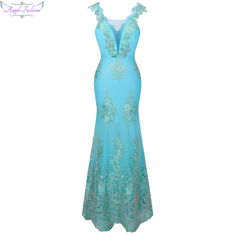 Angel-fashions Women's V Neck Embroidery Lace Flower Mermaid Long Prom Dress Light Lavender Sky Blue 310