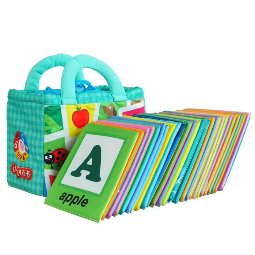 26 Letters Cloth Card with Cloth Bag Early Education Toy post card learning resources ju ...