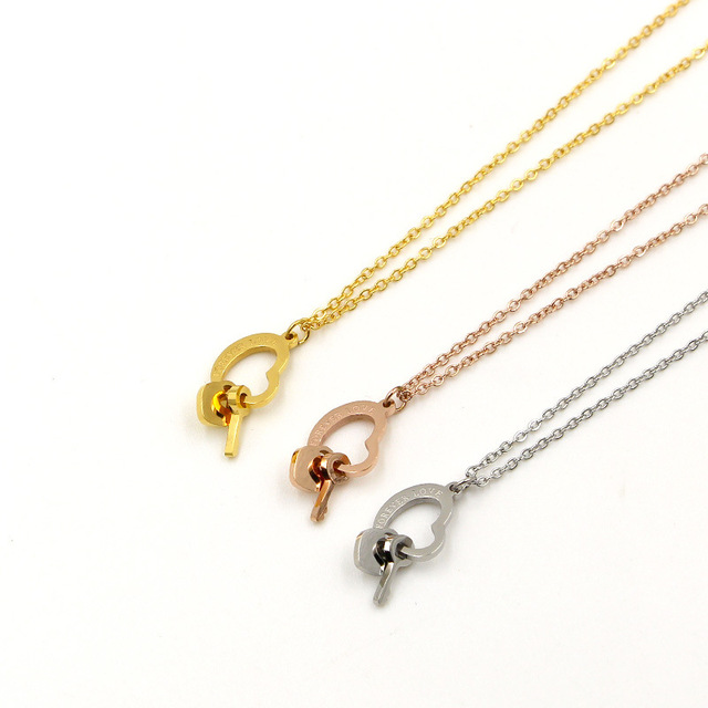 Hollow love heart key pendant necklace collares femme gold color hollow love heart key pendant necklace collares femme gold color cute statement necklace women stainless aloadofball Image collections