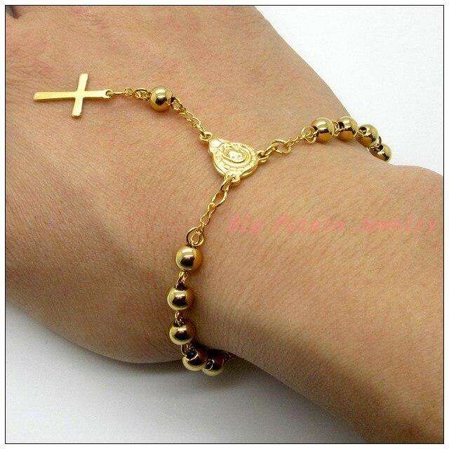 4cd7c28f7553 Top Design amarillo oro Buda Cuentas Acero inoxidable suéter cadena para  mujer para hombre brazalete pulsera