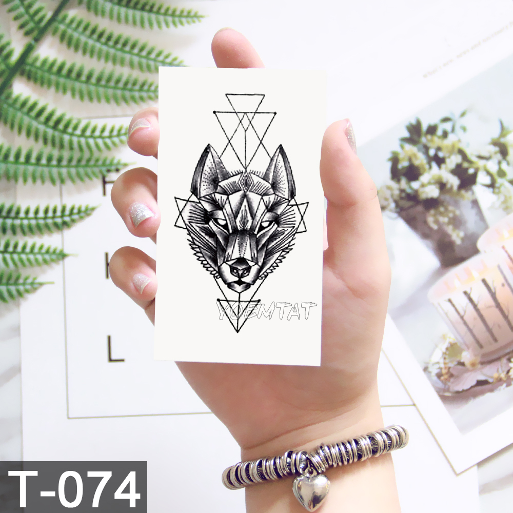 Black Geometric whale Temporary Tattoo Moon Deer Rose Tattoo Stickers Women Party Body Arm Art Fake Tattoo Leaf Men Flower Hands 4