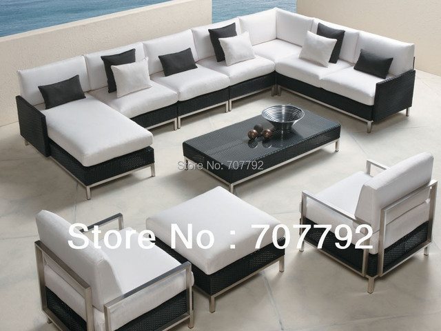 2017 Top Sale Patio Furniture Rattan Elements 9 Piece Sofa Set
