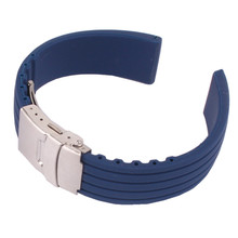 16mm 18mm 20mm 22mm 24mm Navy Silicone Rubber Watch Strap Band Deployment Buckle Waterproof Watchbands 22mm