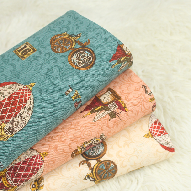 half yard British style print cotton linen fabric, handmade DIY quilting garment dress tissue CR-A183