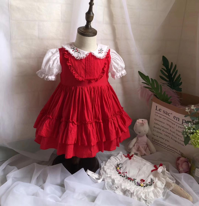 Baby meisjes jurken geborduurde bloemen turn down kleur zomer prinses feestjurken baby kids kleding - 3