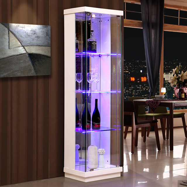 Simple Modern Glass Wine Cabinet Corner Cabinet Home Side Bar Dining Living  Room Decorative Paint White