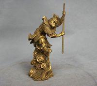 6 inches China Myth Brass Sun Wukong Monkey King Hold Stick Fight Statue
