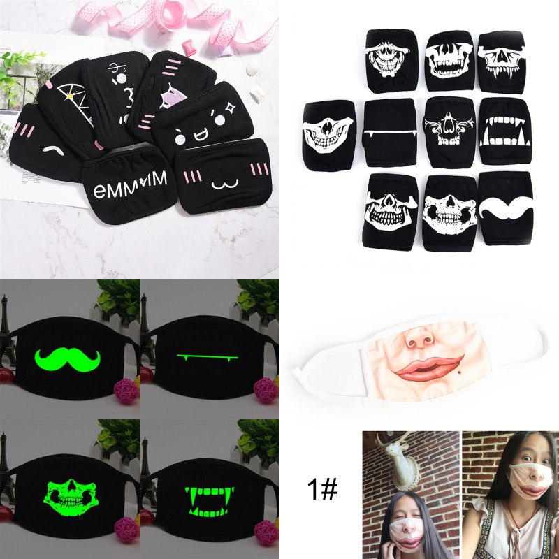 1Pc Anime Cartoon Kpop Lucky Bear Face Mouth Mask Muffle Black Anti-Dust Cute Bear Cotton Mouth Face Mask Respirator For Cycling