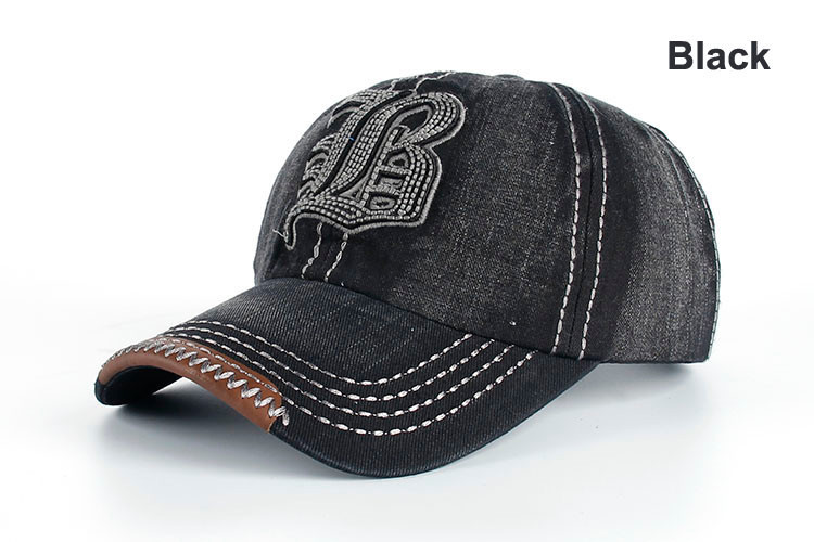 "Embroidered Letter ""B"" Denim Dad Hat - Black Dad Hat"