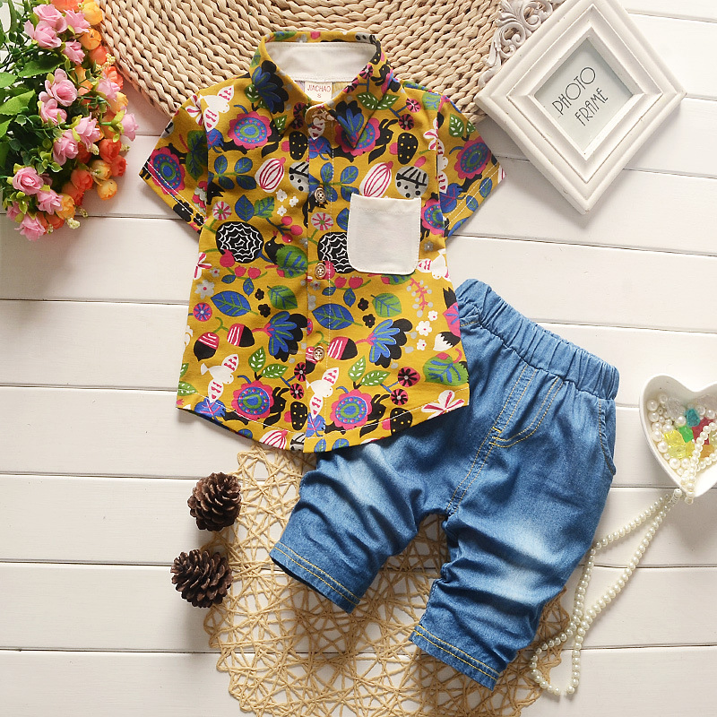 0-3 Age Children Boys Clothing Summer Cotton Fashion Short Sleeve Shirt+Denim Shorts Suit Baby Boys Kids Clothes Roupas Infantis