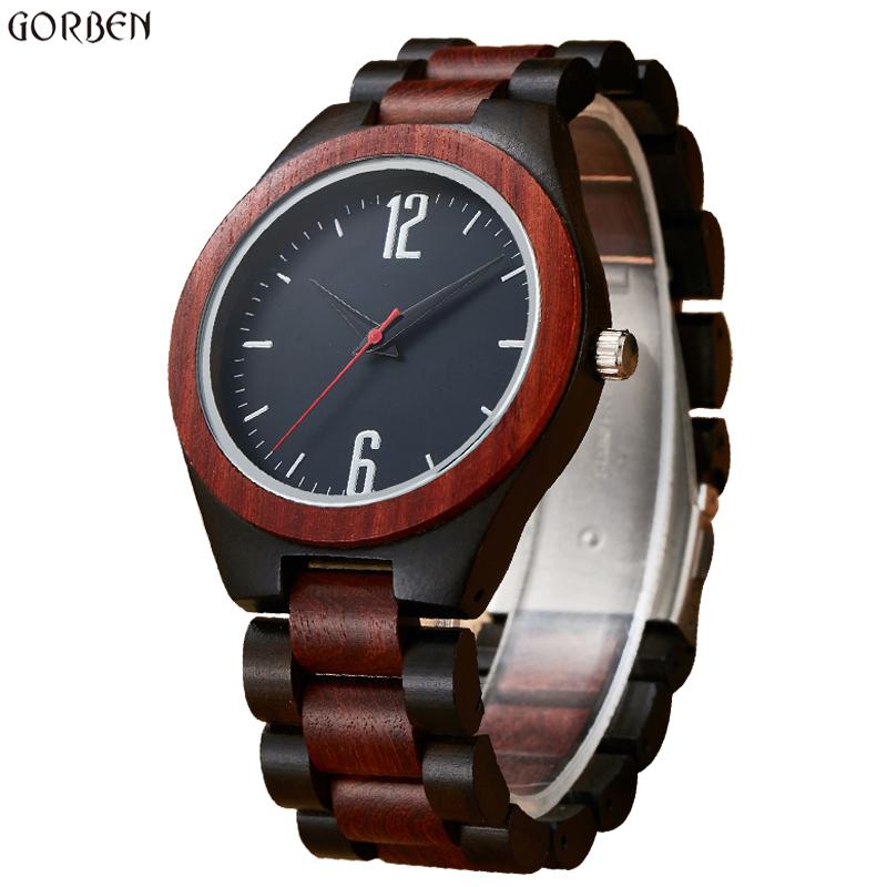 Unique creativity Wood Case Mens Watch with Ebony Bamboo Round Bracelet Watches Cool Analog Japen Quartz Movement Wristwatches gorben round vintage zebra wood case men watch with ebony bamboo wood face bamboo wood strap bracelet watches cool modern gifts