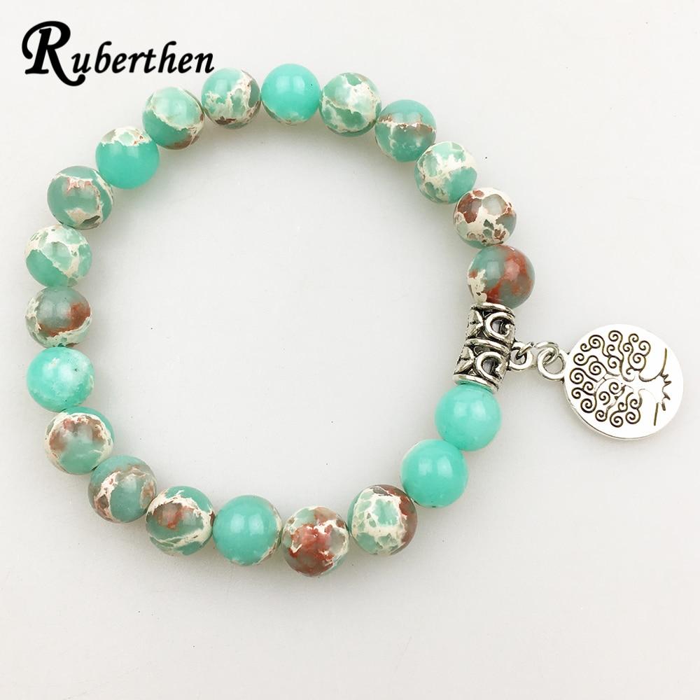 Ruberthen Vintage Design Men`s Natural Stone Bracelet Tree of Life Charm Balance Jewelry Trendy Gift for Him